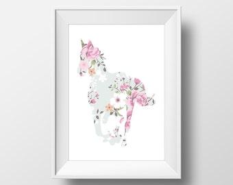 Floral Horse Print, Horse Print, Horse art, Horse decor, Horse lover gift, Horse Wall Art