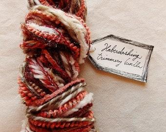 Neapolitan Ice Cream pink red white malt brown striped twine mix Novelty Fiber Yarn Sampler Bundle