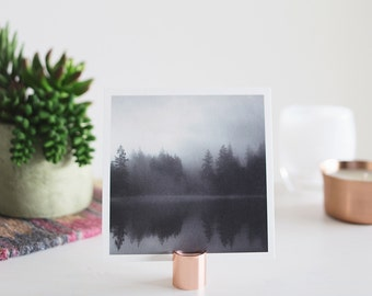 """5x5 Lake and Fog Print on a Copper Photo Stand - Fine Art Square Photo Display Minimalist Modern Art """"Reflection + Copper Stand"""""""