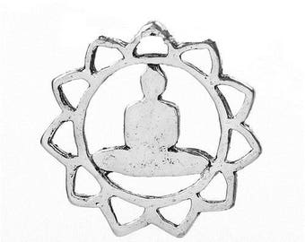 1 pendant round zen theme yoga, 17 mm. Boho, Bohemian, zen, meditation, diy theme