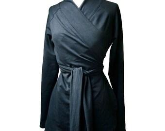 Organic knit jersey shawl wrap shirt, wrap top, wrap tunic, organic cotton clothing