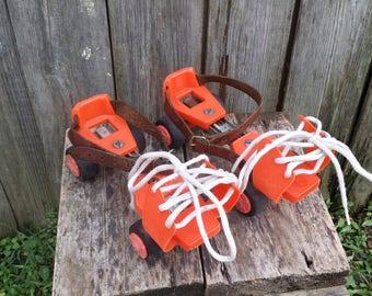 Vintage roller skates, Children's roller skates, Roller skating, Vintage toy, Orange roller skates, Street roller skates, Gift.