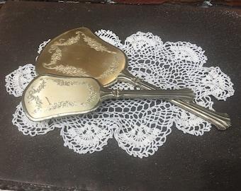 Two Toned Vintage Vanity Mirror and Hair Brush