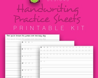Handwriting Practice Sheets, Uppercase & Lowercase, Handwriting Worksheets, PDF Printable