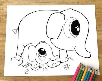 Cute Elephants Coloring Page! Downloadable PDF file!