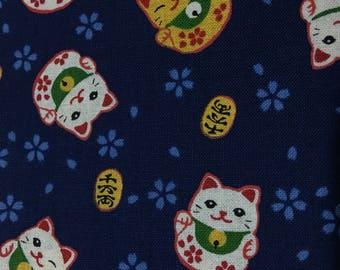 Half Yard-Fortune Cat / maneki-neko- Dark Navy Background-100% cotton-Kimono/ yukata fabric-Made in Japan