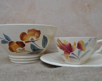 Vintage French Digoin Sarreguemines Cafe Au Lait Bowl with Cup and Saucer
