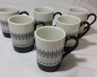 Set of 6 (Six) Vintage 1967 American Airlines First Class China Demitasse Cups * Mayer China Made in the USA * Minners & Co * Iron Fence