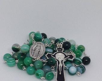 Rosary, Catholic Light Aqua Agate