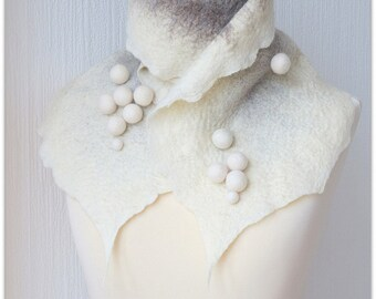 Finnish winter white. Wet felted warm gray and white scarf with pompoms