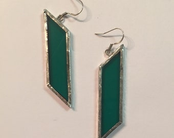 Dark Green Stained Glass Earrings
