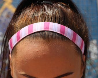 Striped Ribbon Headband Girls Hair Accessories - Team Headbands for Girls -  Choice of Size & Color - Athletic Headband Adult Gifts