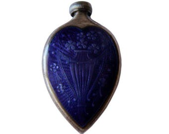 Antique 1920's Enameled Sterling Silver Perfume Bottle