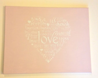 "Heart 14""x18"" wall canvas"
