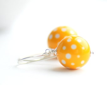 Yellow Earrings, Yellow and White, Polka Dot Earrings, Summer Jewelry, Lucite Earrings, Retro Earrings