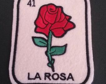 La Rosa Loteria Patch  Iron On