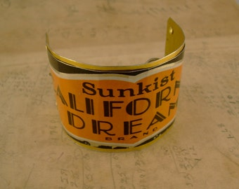California Dreaming - Funky Vintage Sunkist California Dream 1928 Art Deco Design Orange Tin Recycled Repurposed Jewelry Cuff Bracelet