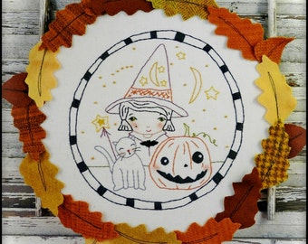 Wee bit Wicked Halloween hand embroidery Pattern PDF - hoop witch pumpkin cat hat