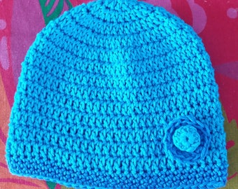 Crocheted blue baby hat