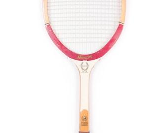 Vintage Wooden Tennis Racquet / Red White Bancroft Executive Tennis Racket / Antique Wood Tennis Racket Antique Tennis Racket Sports Decor