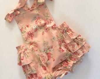 Pink Bloomers, Baby Girl Romper, Vintage Style Rompers