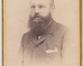 Bearded Man CDV, J. PICKEN of RUNCORN, Victorian 1883-92. Photograph, Vintage, Collectable, Fashion.