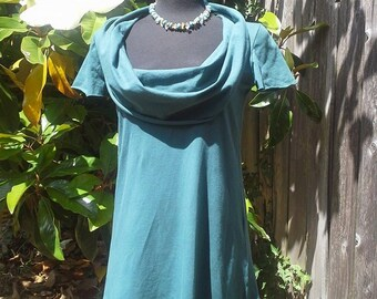 Scoop Cowl Short Sleeve Tunic, Organic Cotton Jersey