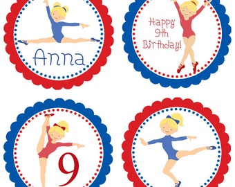 Gymnastic Party Circles - Red White Blue Scalloped Girl Gymnasts, Gymnastic Personalized Birthday Party Circles - Digital Printable File
