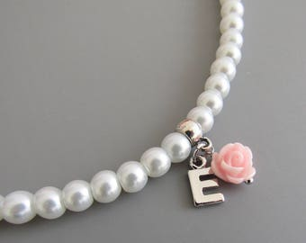 Flower girl necklace • flower girl gift • flower girl jewelry • children's pearl necklace • wedding jewelry • kids gift personalized