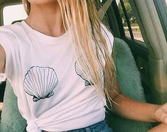 SEASHELL Beach Ocean Ladies T-shirt
