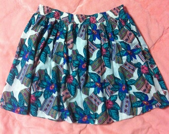 90s Vintage Tropical Hawaiian Print Skirt, Vintage Hawaiian Tropical Mini Skirt, Tropical Floral Skirt, Vintage Hawaiian Skirt, Floral Skirt