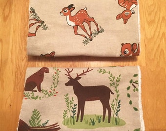 Set of 2 baby burp cloths - Woodland design