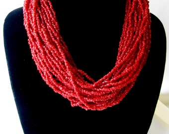 Vintage Indian Red Coral Multi Strand Necklace