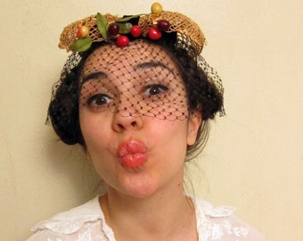 Vintage 1950s Fruit Hat with Black Velvet and Straw Fascinator / 50s Novelty Hat with Veil by Miss Sally Victor