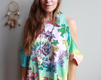 Grateful Dead Fringe Dancing Bears Tie Dye Cut Out Open Off The Shoulder Oversized Hippie Boho Upcycled Tshirt Tee Top Shirt Womens
