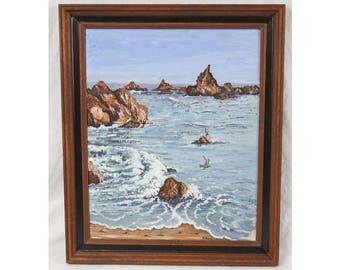 Signed 16x20 Vintage 70s/80s Seascape Painting Waves Beach Rocks Birds Framed