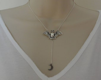 Silver Bat And Moon Necklace, Bat Over The Moon Pendant, Bat Necklace, Gothic Jewellery, Moon Necklace, Statement Necklace