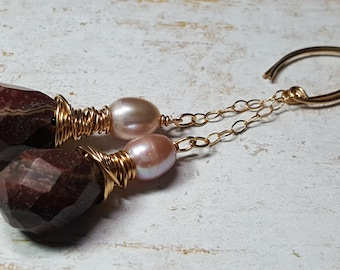 Earrings Red Jasper Blush Pearl Wire Wrapped Gold Filled Dangle Drop #1674