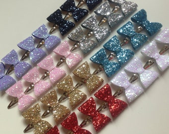 Toddler Glitter Bow Snap Clips - glitter bows, snap clips