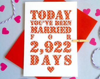 Days You've Been Married Card – Personalised Anniversary Card – Card for Husband/Wife – birthday card for husband/wife – Christmas card