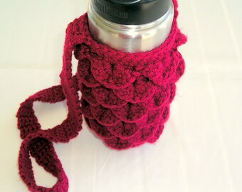 Water Bottle Cozy and To Go Cup Cozy Crochet PDF Pattern with Photo Tutorial ~ Bag for Bottle and Cup Sleeve ~ Crochet Bottle Cozy