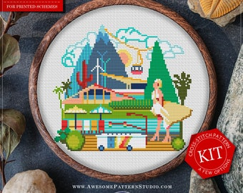 Cross Stitch Kit/Printed Cross-Stitch Pattern of Palm Spring *K075 /Modern Cross Stitch Pattern/Palm Springs Cross Stitch/City Cross Stitch