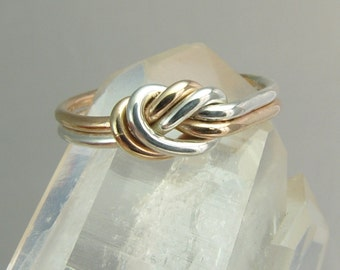 Rose Gold Knot Ring / Infinity Ring / Celtic Knot ring / Gold and Silver Knot Ring / Lover's Knot Ring / Sister Ring / Best Friend Ring