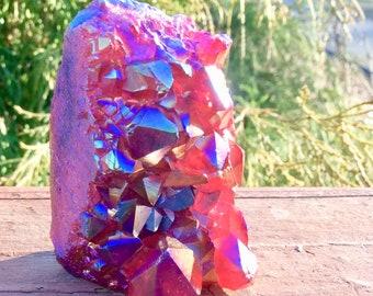 Vivid Red Flash Angel Aura Quartz Crystal - Fast & FREE SHIPPING + Gift Wrap 4.8 oz - Mineral Display Specimen ~ Gem Collector ~ Iridescent