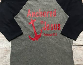 Christian Shirt - Faith Shirt -  Boys Christian Shirt - Christian Raglan - Jesus is my Anchor - Kids Christian Tees