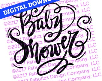 """Baby Shower - Typographic Illustration - 8"""" x 8"""" -  SVG File for CRICUT"""