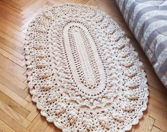Crochet oval dolly rug round cotton rug 59*40 in. area rug living room rug, rag rug. vintage rug carpet. French country decor