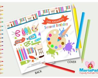 Art fête colorier, coloriage 6 livres, arc-en-Art et Craft Party, livres de coloriage personnalisé, fait à la main des faveurs du parti, A1251