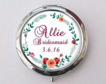 Bridesmaid Gift, Personalized Compact Mirror, Custom Bridesmaid Compact