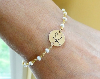 Personalized bridesmaid jewelry, Initial bracelet, pearl bracelets, bridal jewelry, Bridesmaid bracelets, Otis B